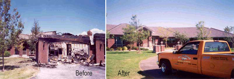 Bfore and After fire damage restoration by All American Cleaning and restoration in Burley,ID