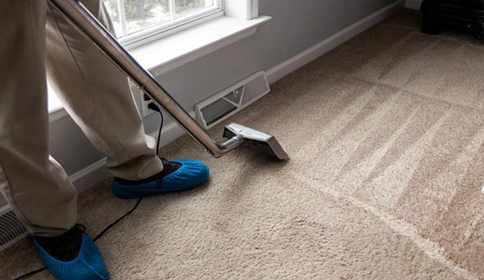 a carpet cleaning wand leaving a clean streak across a patch of carpet