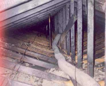 Fire damaged attic