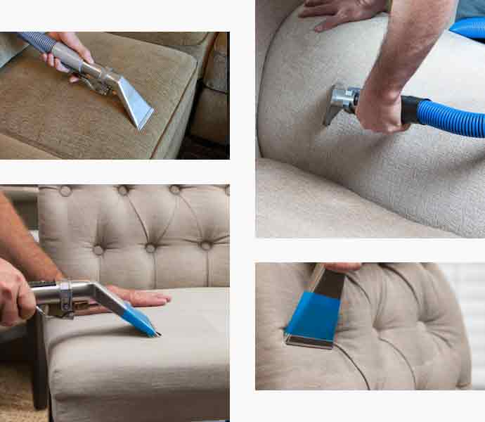 A man cleaning sofa