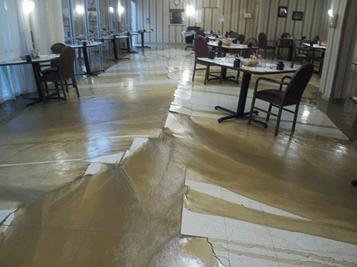 Water damage from frozen pipe in Idaho assisted living center.
